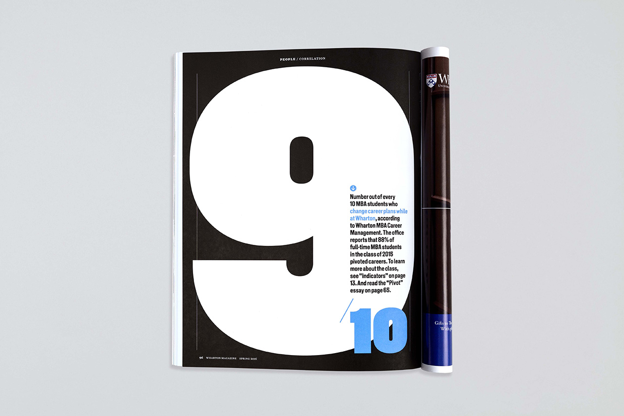 wharton magazine new at pentagram back page infographic